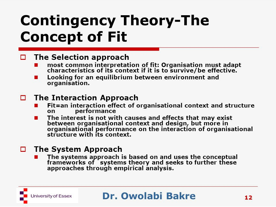 system and contingency approach