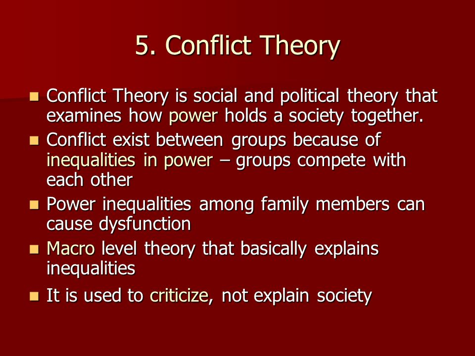 discuss the major differences between theories of social process and social conflict theories which  There are numerous theories which try to describe the causes of crime, some of these well-known theories are the strain theory, control theory, differential association theory and social disorganization theory.