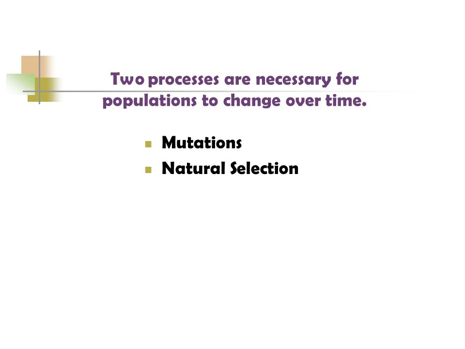 Two processes are necessary for populations to change over time.