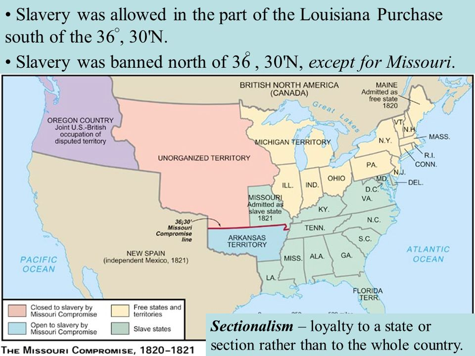 • Slavery was banned north of 36 , 30 N, except for Missouri.