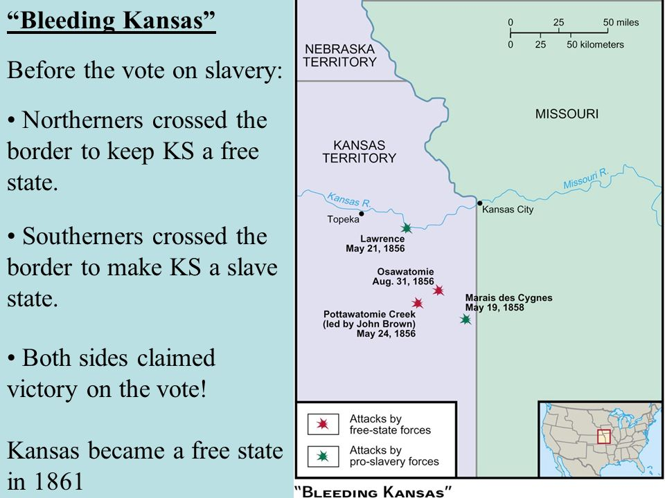 Bleeding Kansas Before the vote on slavery: • Northerners crossed the border to keep KS a free state.