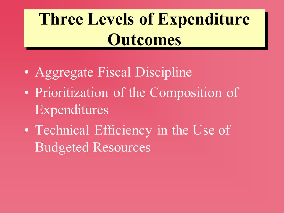 Three Levels of Expenditure Outcomes