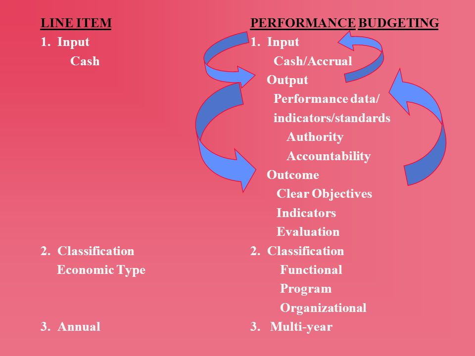 LINE ITEM 1. Input. Cash. 2. Classification. Economic Type. 3. Annual. PERFORMANCE BUDGETING.