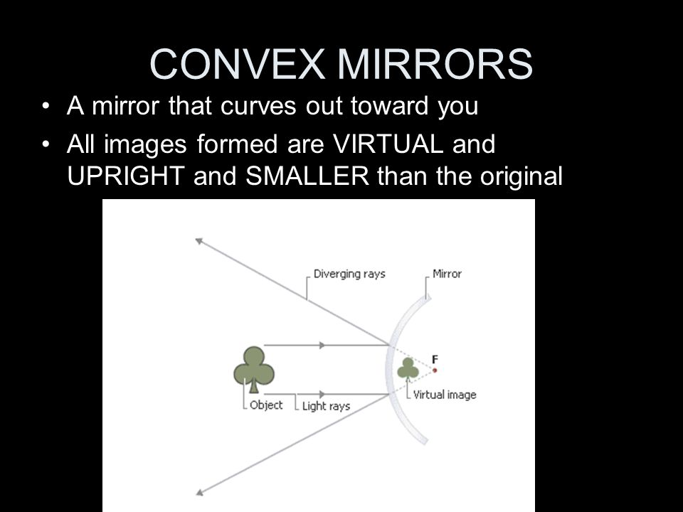 CONVEX MIRRORS A mirror that curves out toward you
