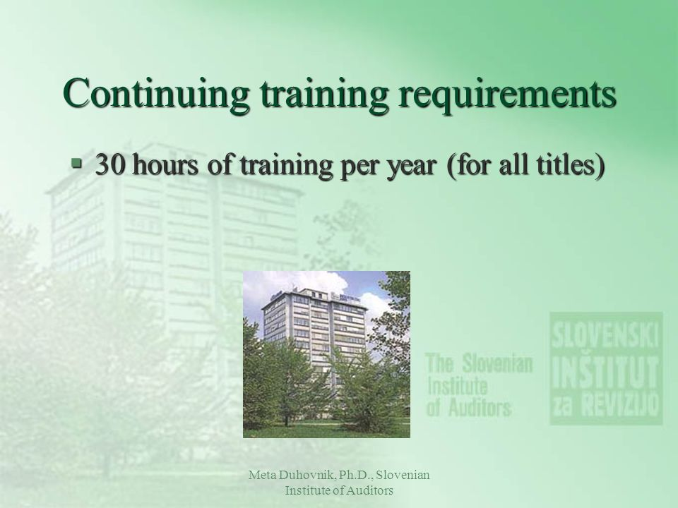 Continuing training requirements