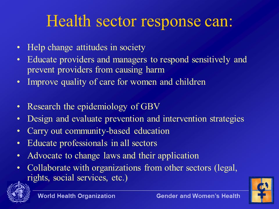 Health sector response can: