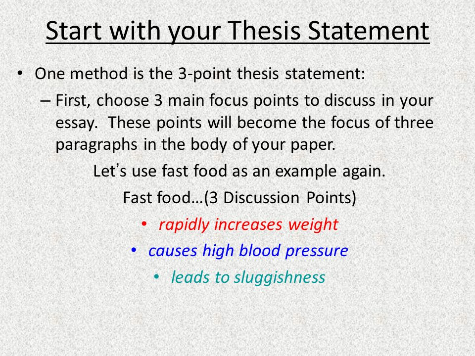 general format  the thesis statement  thesisessay notes page  start with your thesis statement