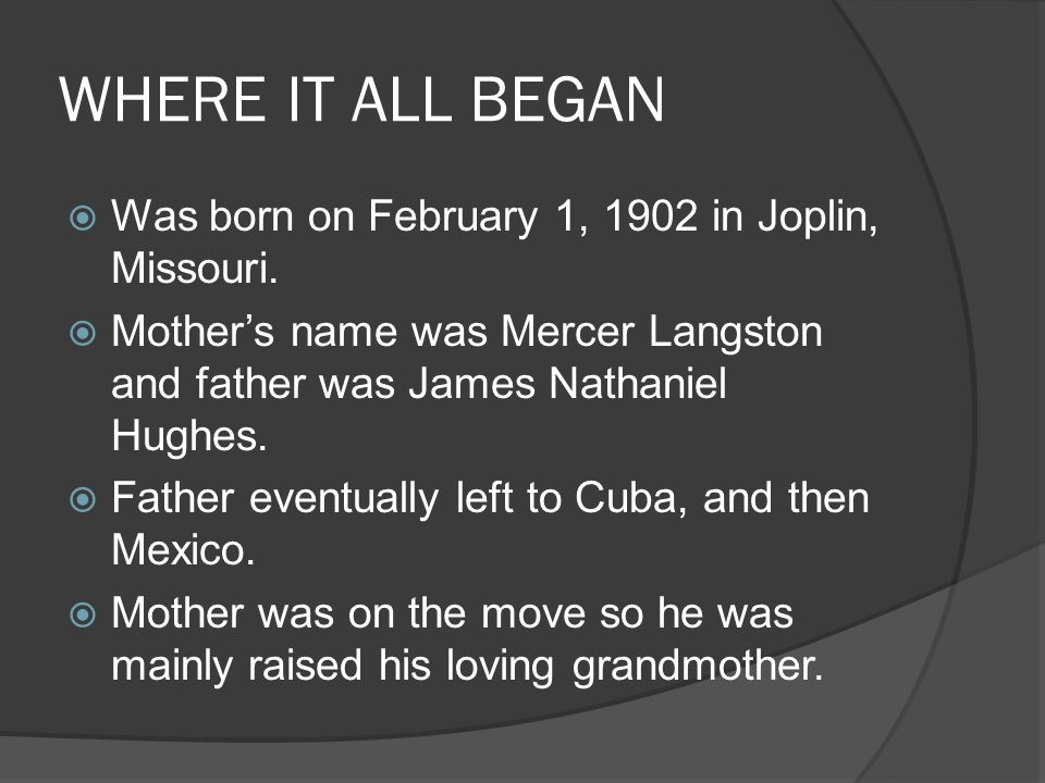 WHERE IT ALL BEGAN Was born on February 1, 1902 in Joplin, Missouri.