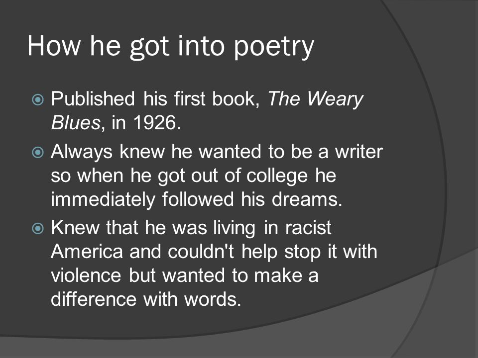 How he got into poetry Published his first book, The Weary Blues, in
