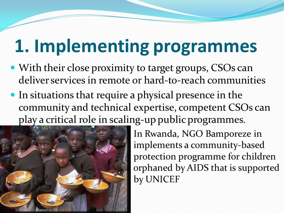 1. Implementing programmes