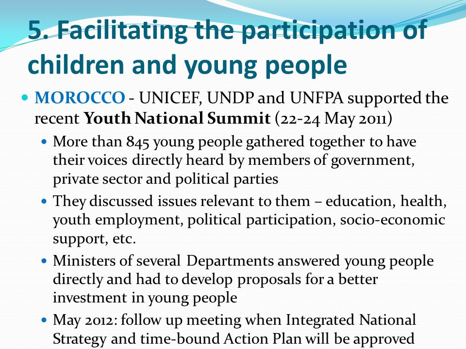 5. Facilitating the participation of children and young people