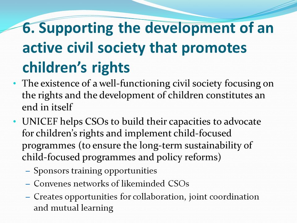 6. Supporting the development of an active civil society that promotes children's rights