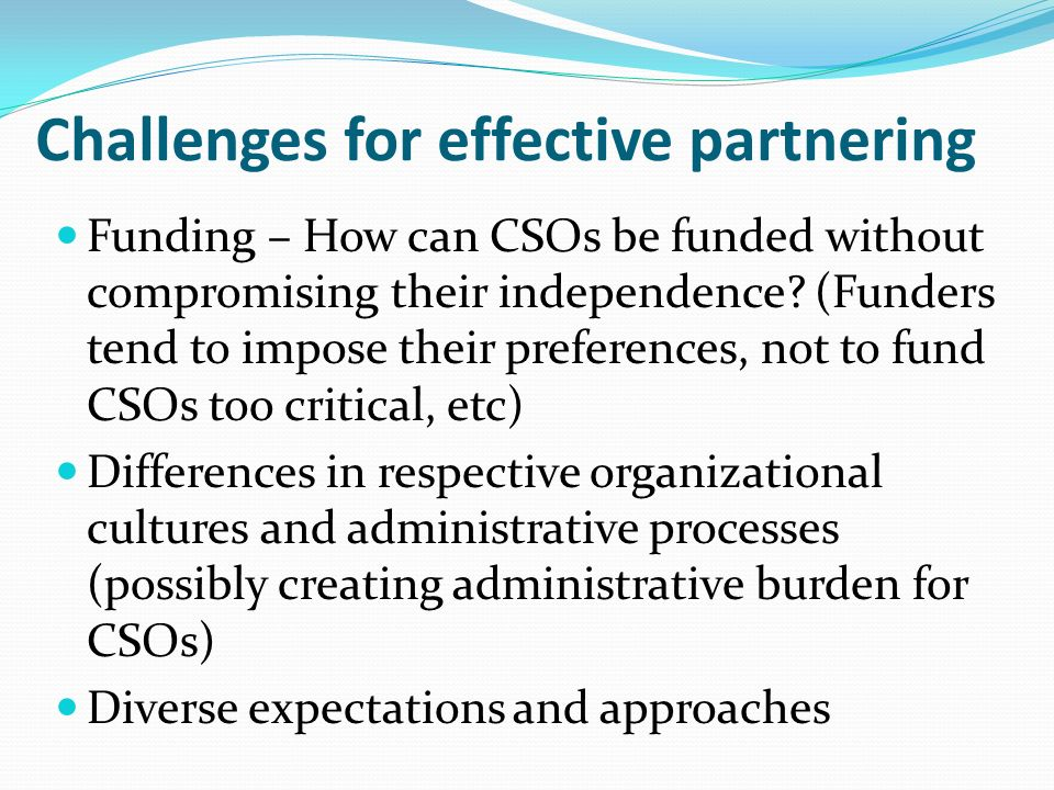 Challenges for effective partnering