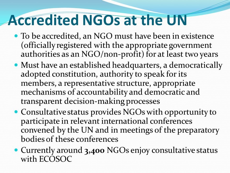 Accredited NGOs at the UN