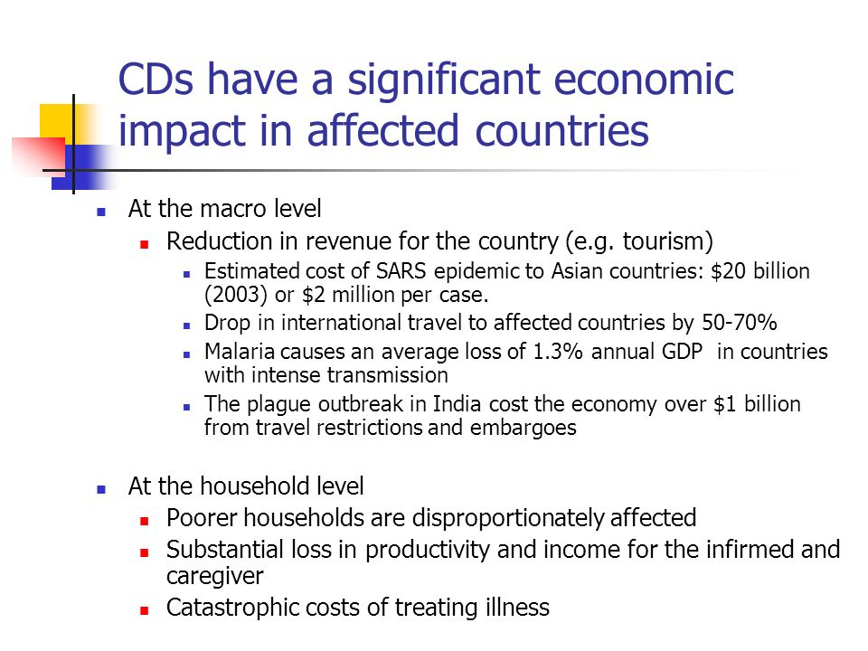 CDs have a significant economic impact in affected countries