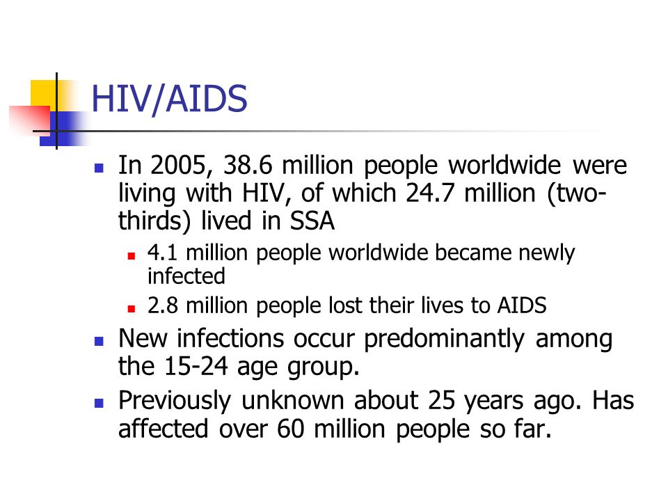 HIV/AIDS In 2005, 38.6 million people worldwide were living with HIV, of which 24.7 million (two-thirds) lived in SSA.