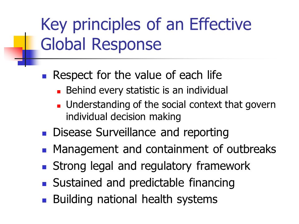 Key principles of an Effective Global Response