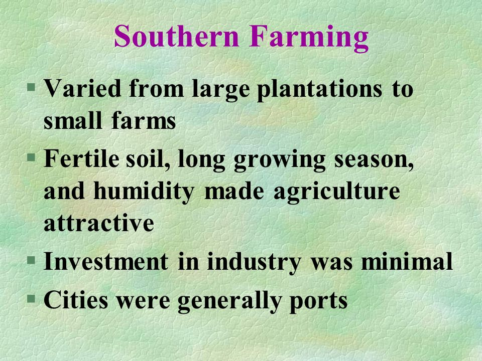 Southern Farming Varied from large plantations to small farms