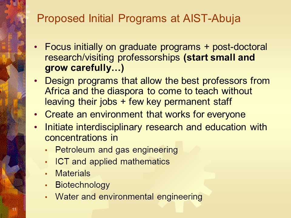 Proposed Initial Programs at AIST-Abuja