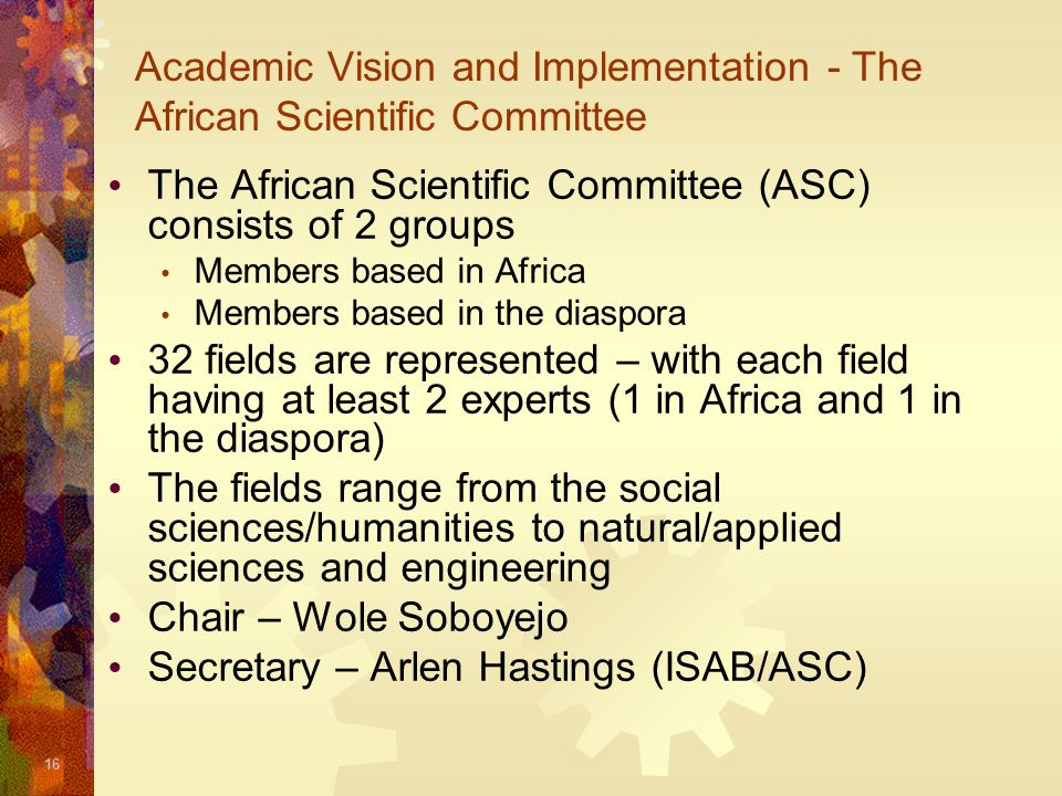 Academic Vision and Implementation - The African Scientific Committee
