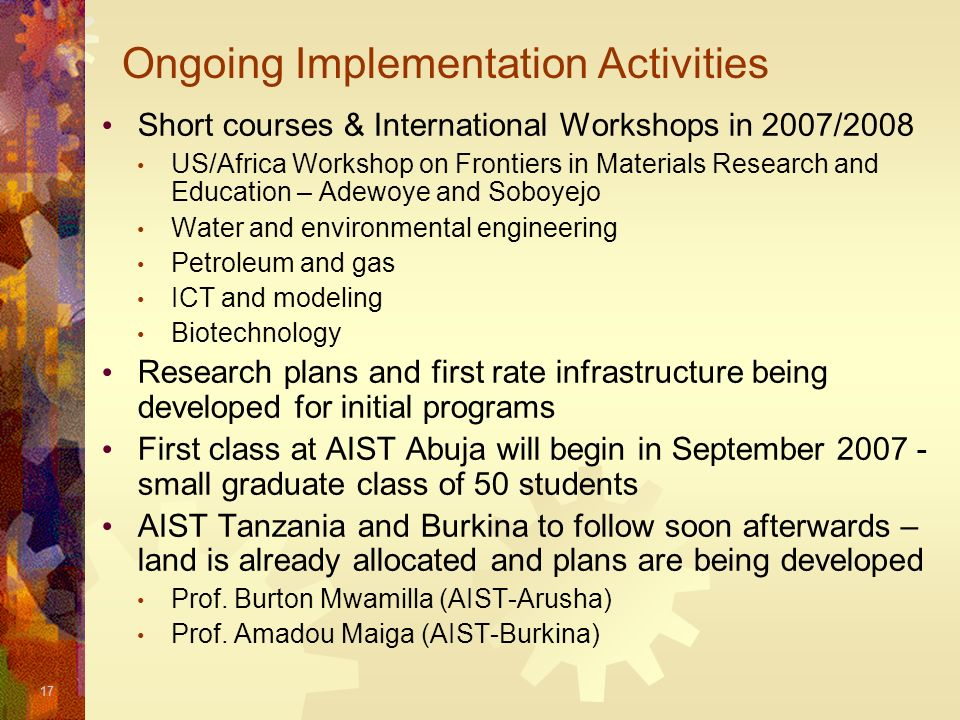 Ongoing Implementation Activities