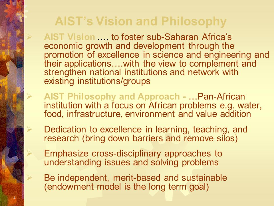 AIST's Vision and Philosophy