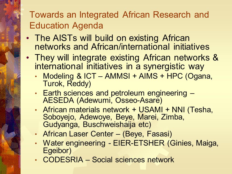 Towards an Integrated African Research and Education Agenda