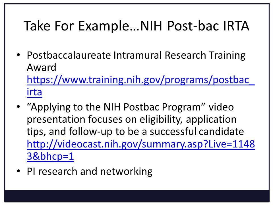 NIH Post Bac IRTA