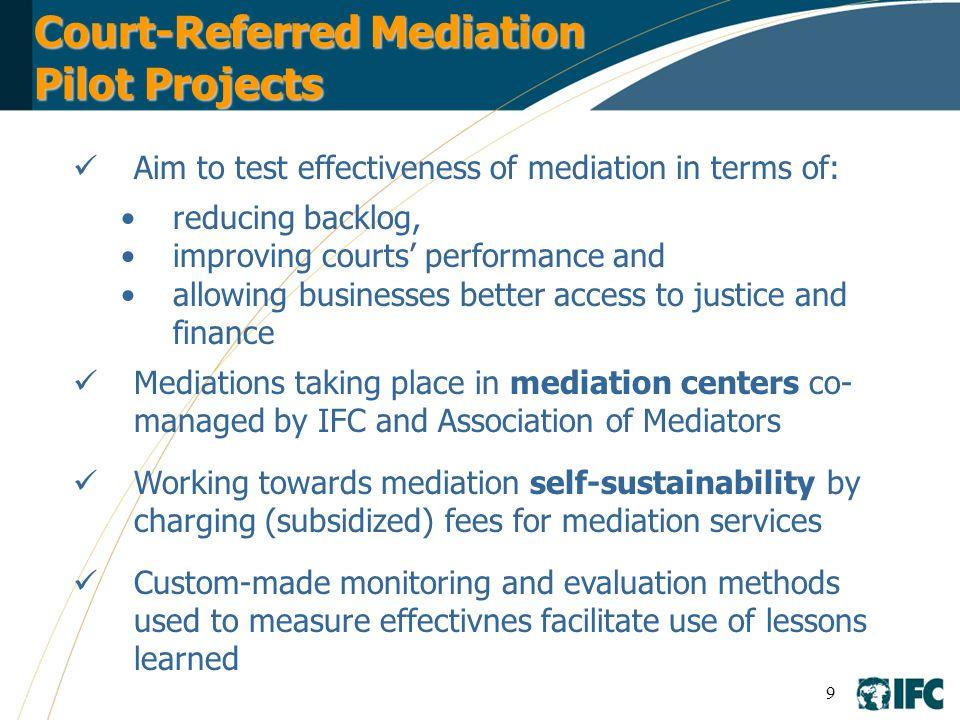 Court-Referred Mediation Pilot Projects