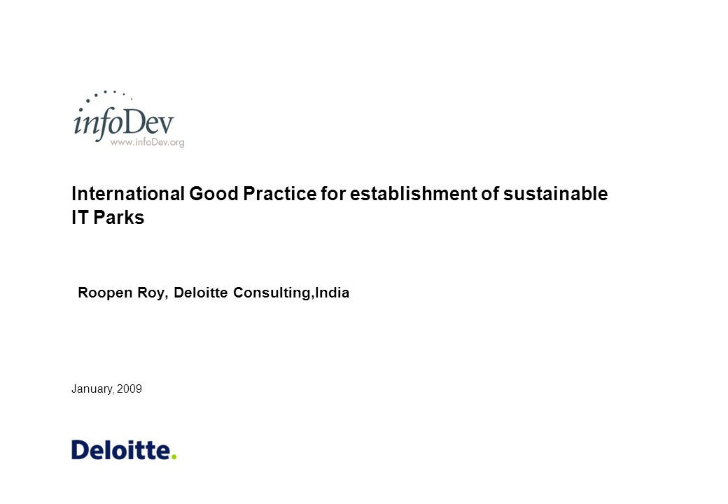 International Good Practice for establishment of sustainable IT Parks