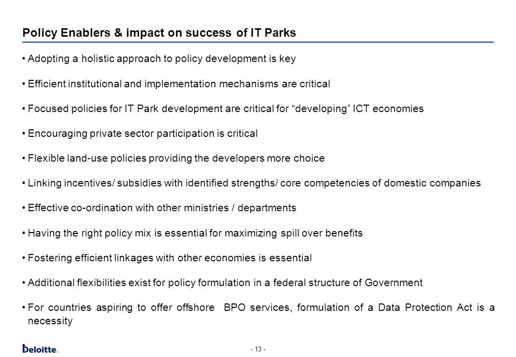 Policy Enablers & impact on success of IT Parks