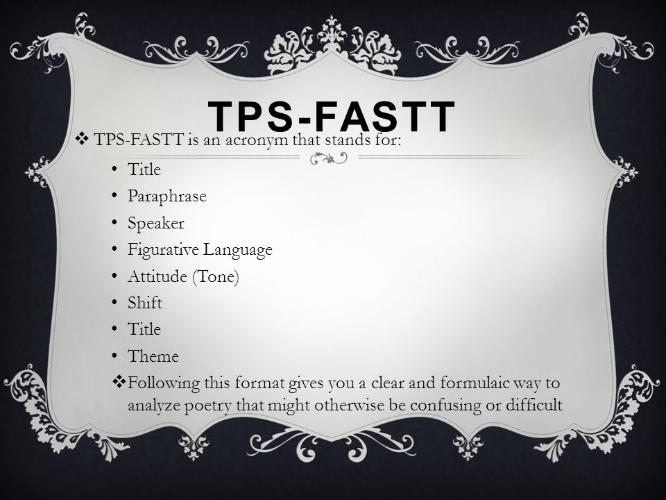 TPS-FASTT TPS-FASTT is an acronym that stands for: Title Paraphrase