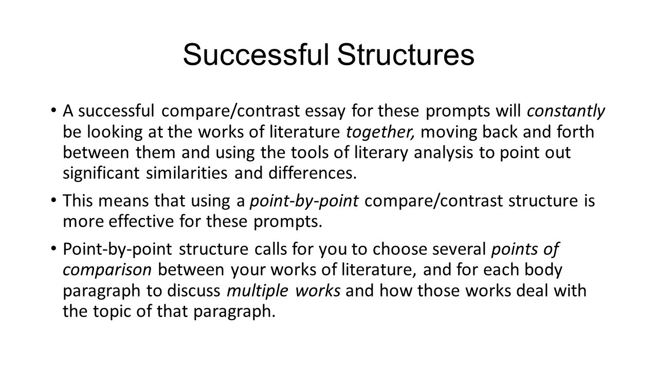 My Hobby English Essay Successful Structures  Example Comparecontrast  High School Memories Essay also English As A Second Language Essay Writing A Comparecontrast Essay About Literature  Ppt Video Online  Custom Writing Fake