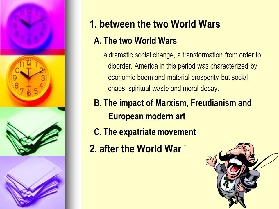 1. between the two World Wars
