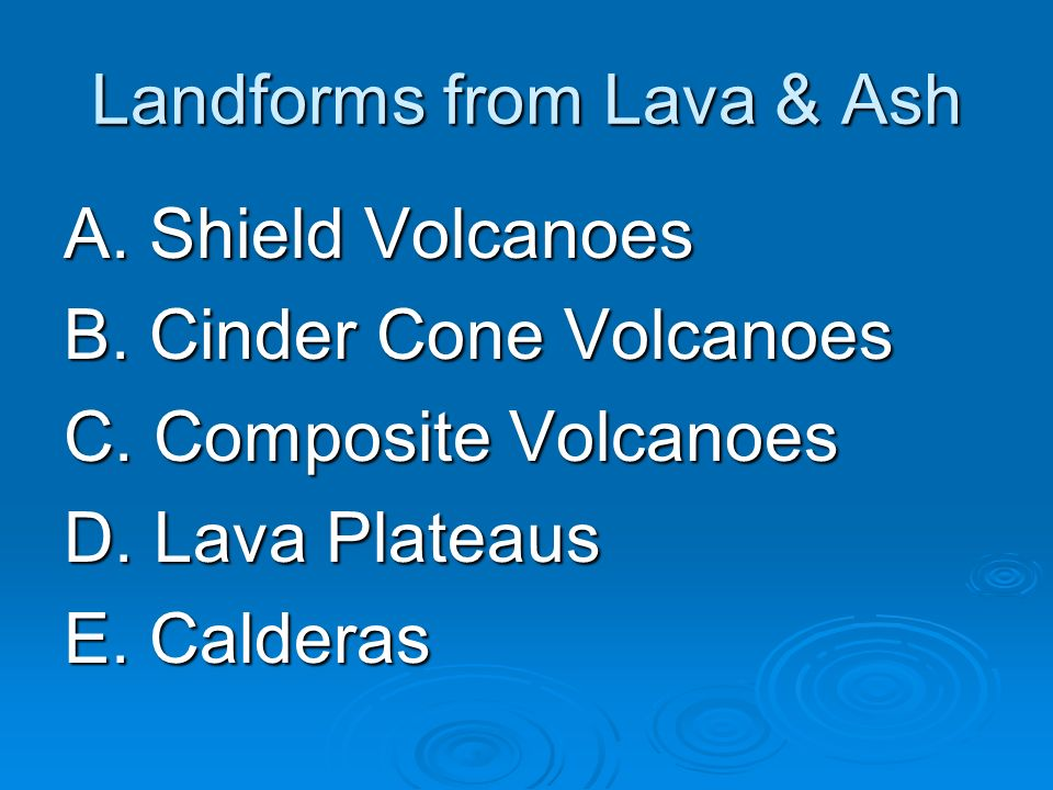 Landforms from Lava & Ash