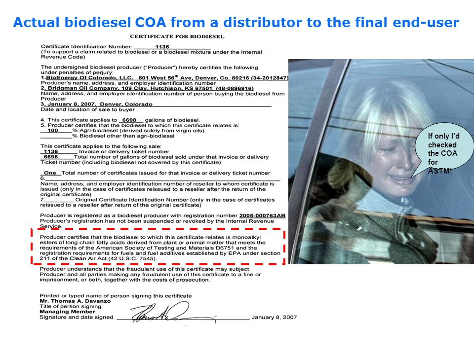 Actual biodiesel COA from a distributor to the final end-user