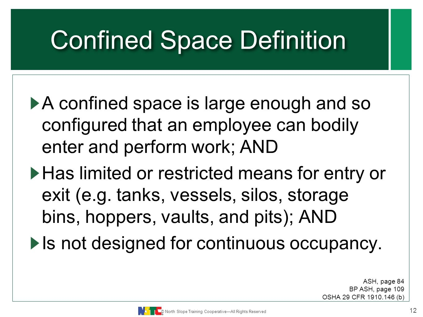 course no. nstc-17 revised: june 2012 confined space entry. - ppt