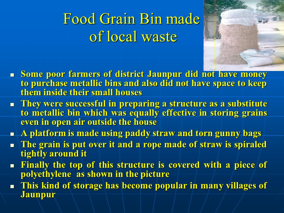 Food Grain Bin made of local waste