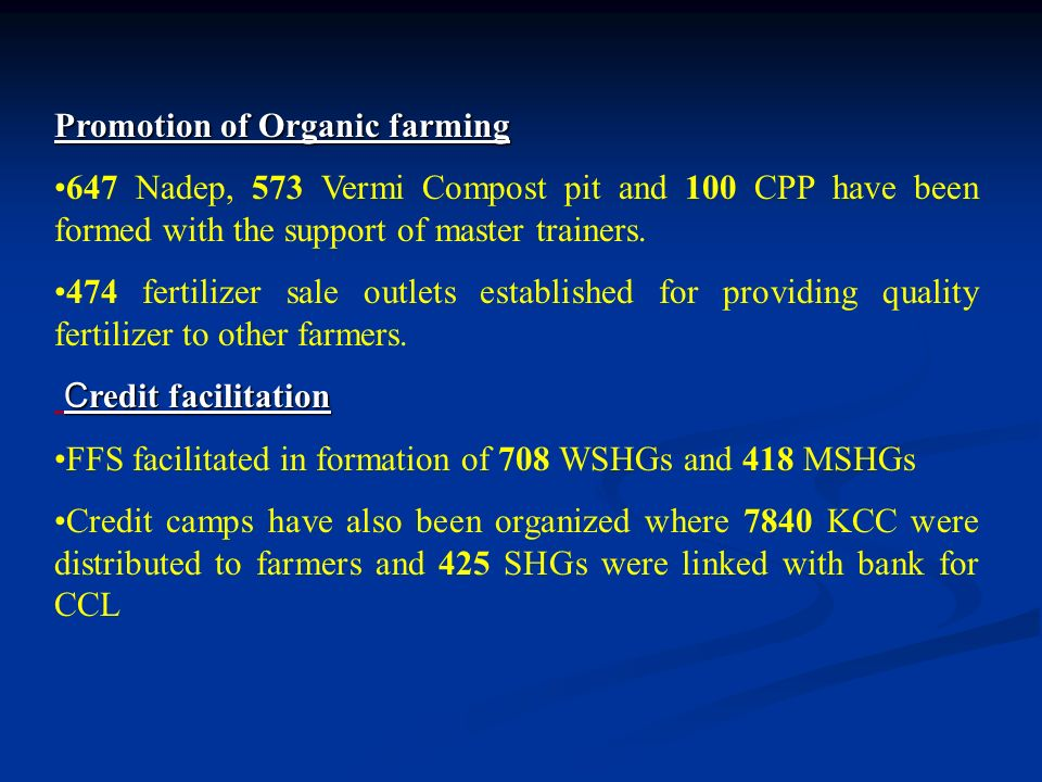 Promotion of Organic farming