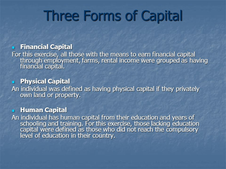 Three Forms of Capital Financial Capital