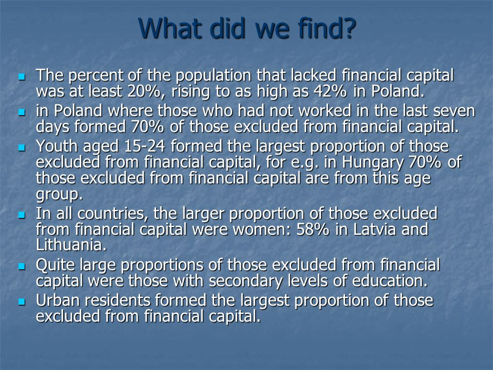What did we find The percent of the population that lacked financial capital was at least 20%, rising to as high as 42% in Poland.