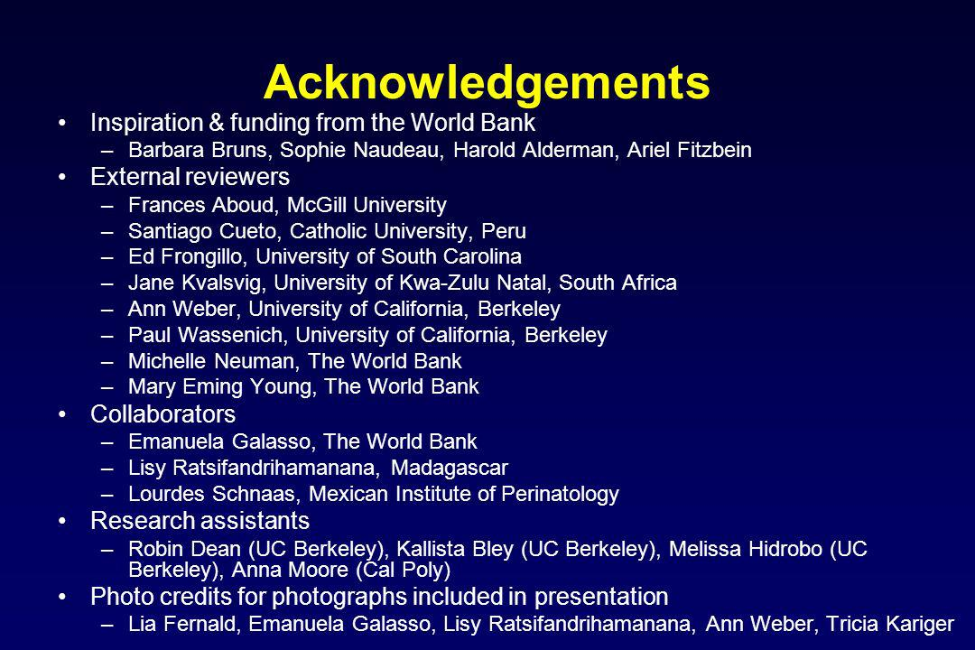 Acknowledgements Inspiration & funding from the World Bank