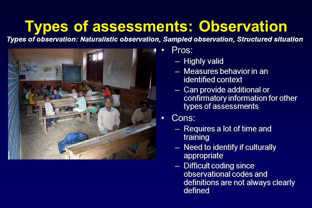 Types of assessments: Observation