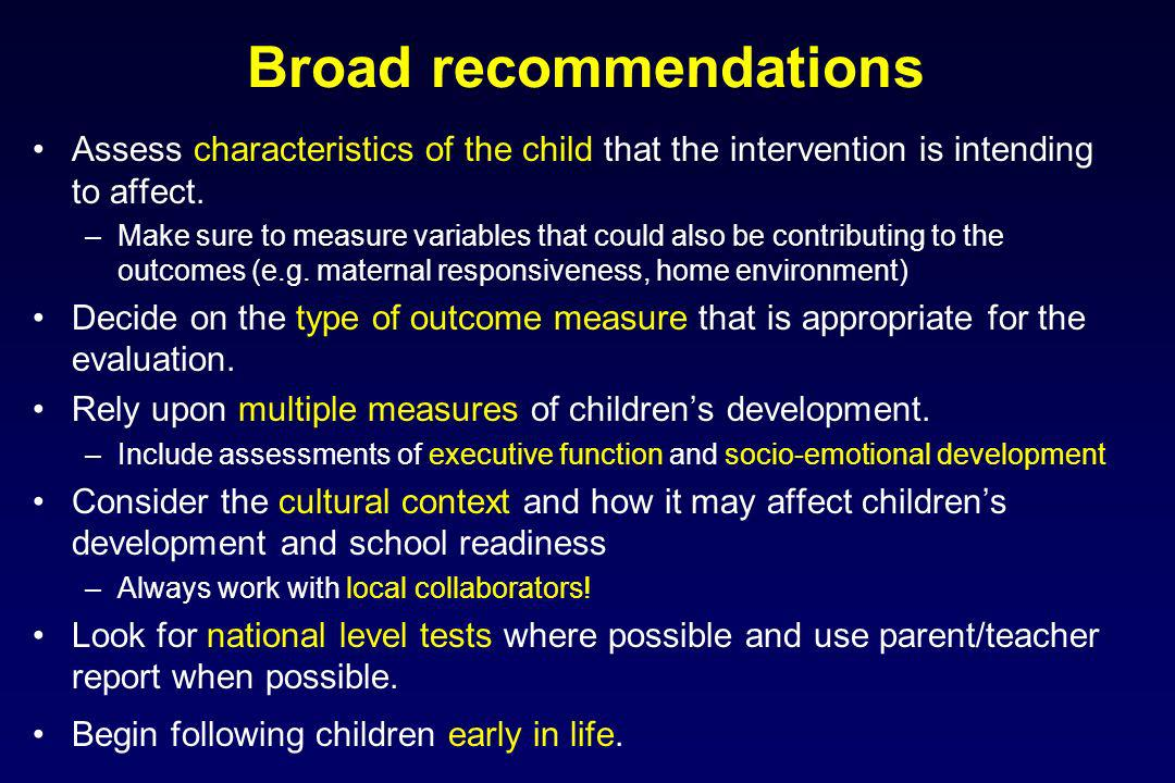 Broad recommendations