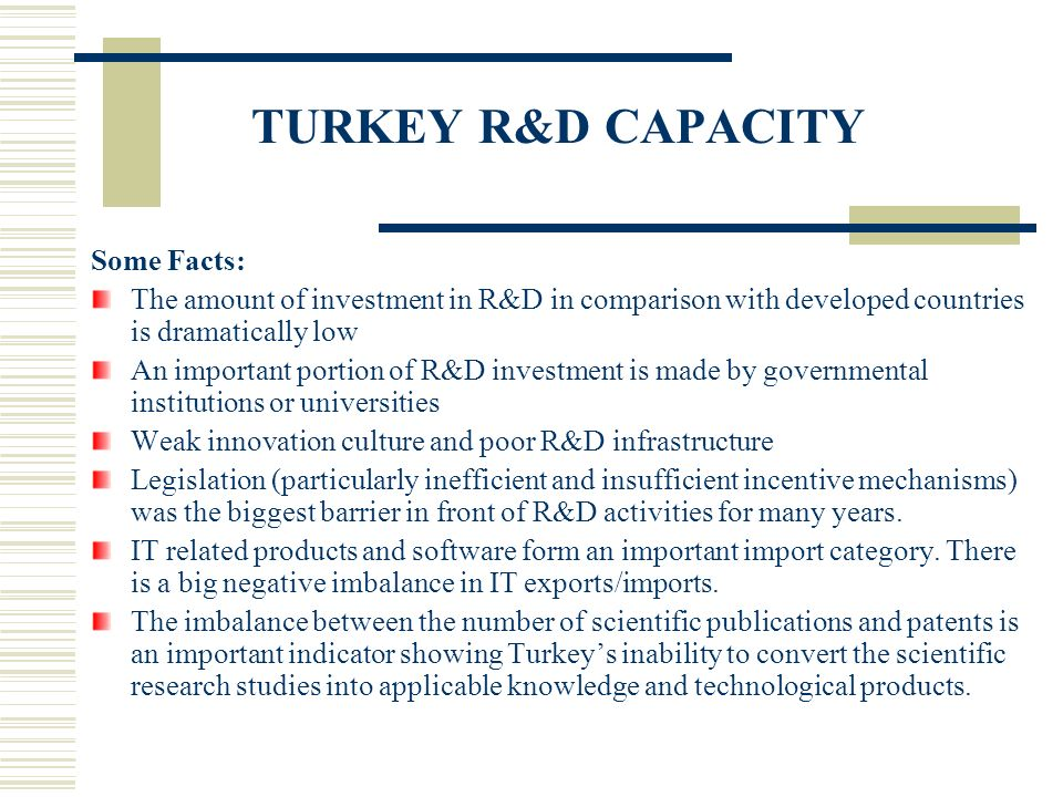 TURKEY R&D CAPACITY Some Facts: