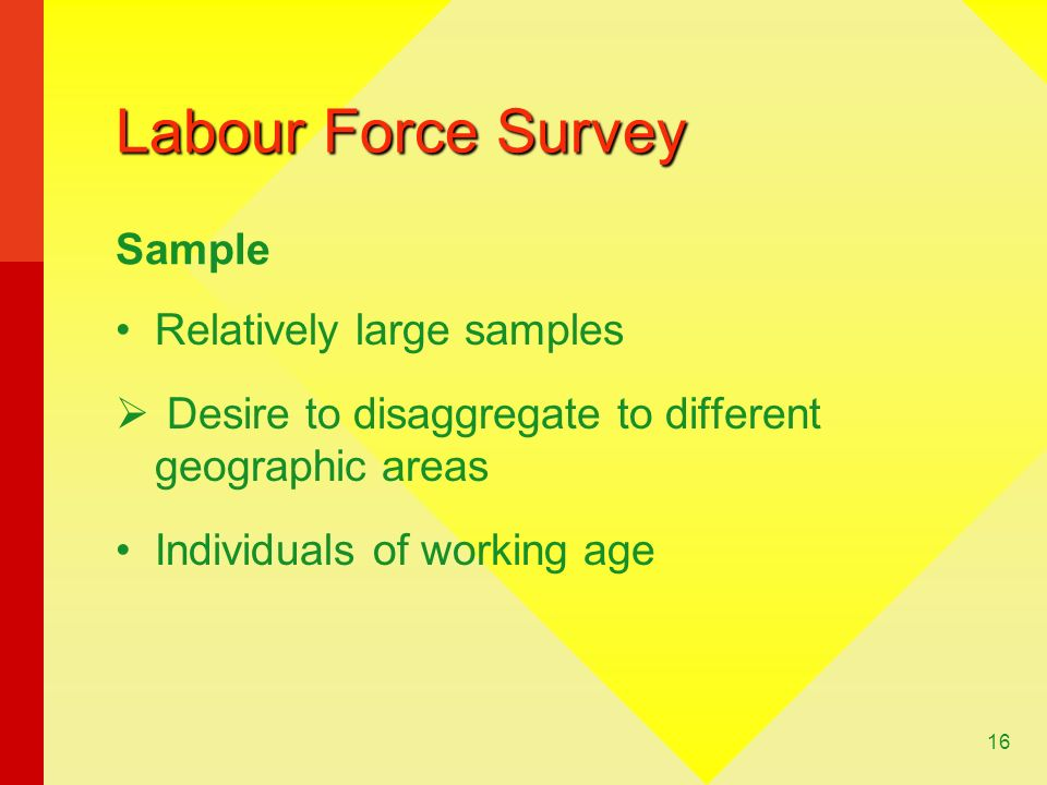 Labour Force Survey Sample Relatively large samples