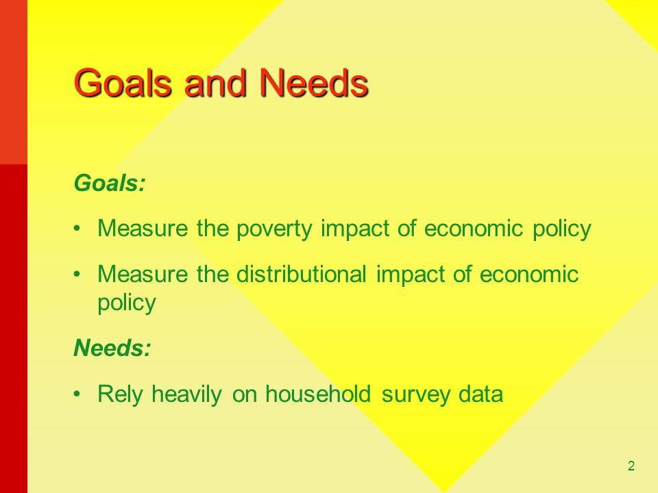 Goals and Needs Goals: Measure the poverty impact of economic policy