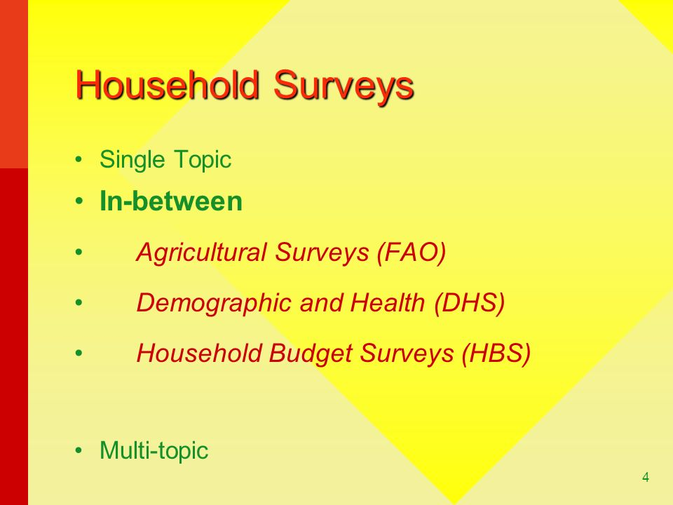 Household Surveys In-between Agricultural Surveys (FAO)
