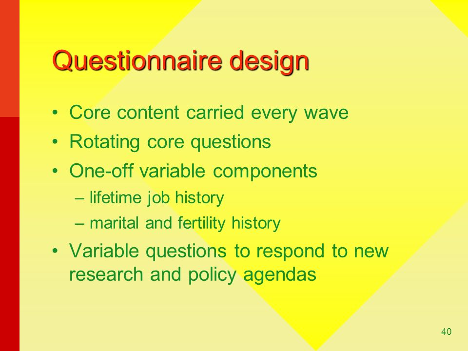 Questionnaire design Core content carried every wave