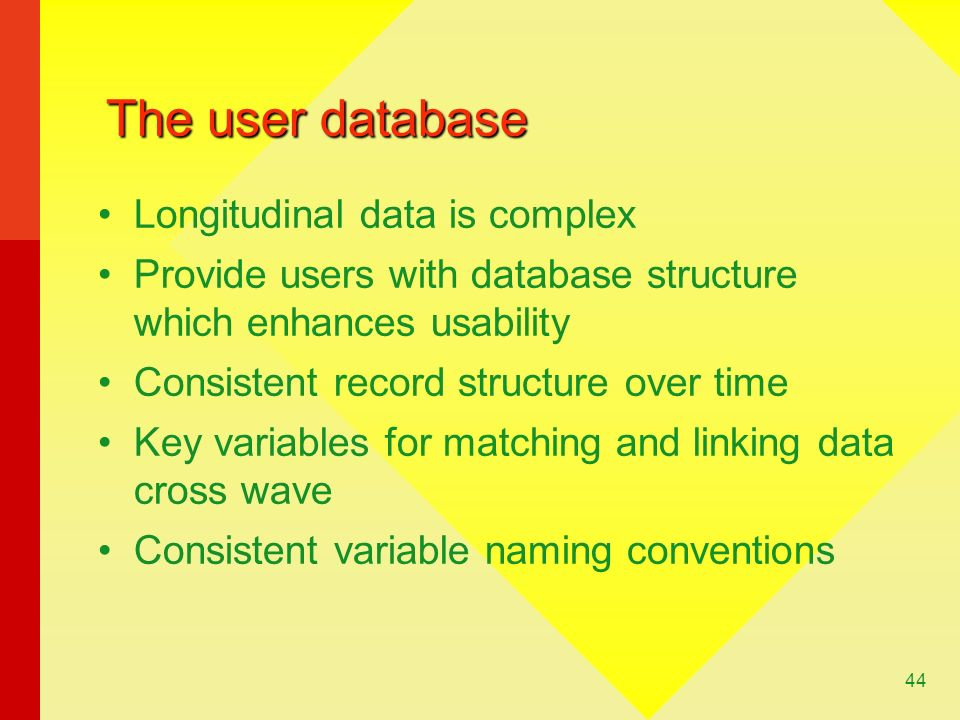 The user database Longitudinal data is complex